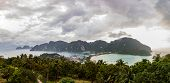 Panoramic View Of All Phi Phi Don Island From The Main Viewpoint On A Cloudy Day With Copy Space poster