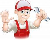 picture of dungarees  - Illustration of a happy plumber or mechanic in his work clothes with wrench - JPG