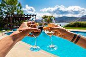 Wines Tasting Enjoying On A Winery Restaurant Patio With Swimming Pool On Okanagan Lake Beautiful La poster