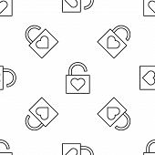 Grey Line Lock And Heart Icon Isolated Seamless Pattern On White Background. Locked Heart. Love Symb poster