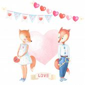 Romantic Watercolor Fox-girl, Fox-boy With Key, Lock, Pink Heart On White Background.ribbon Love . poster