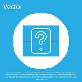 Blue Mystery Box Or Random Loot Box For Games Icon Isolated On Blue Background. Question Box. White  poster
