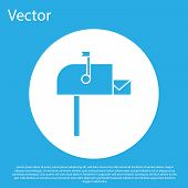 Blue Open Mail Box Icon Isolated On Blue Background. Mailbox Icon. Mail Postbox On Pole With Flag. W poster