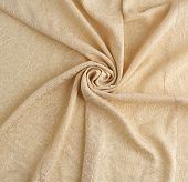 Beige Satin Textile Fabric With Embroidery Elements, Piece Of Canvas For Sewing Curtains And Things, poster