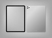Empty Screen Realistic New Tablet Computer Mockup Design. Modern Tablet Pc Isolated On Transparent B poster