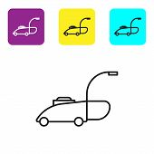 Black Line Lawn Mower Icon Isolated On White Background. Lawn Mower Cutting Grass. Set Icons Colorfu poster
