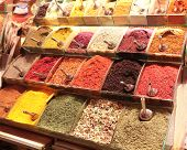 Various spices in Egyptian market, Istanbul, Turkey poster