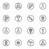 Education Line Icons Set. Science Linear Style Symbols Collection, Outline Signs Pack. Vector Graphi poster