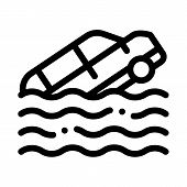 Sinking Car Icon Vector. Outline Sinking Car Sign. Isolated Contour Symbol Illustration poster