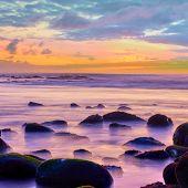 Sundown over the sea  -- Sunset seascape poster