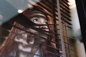 Asian Woman Looking Through Window Blinds Spying On Neighbours - Young Lonely Millennial Woman Peepi poster