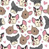 Bulldog Pattern. Little Puppy Fashion Retro Style Hand Drawn Textile Design Seamless Vector Backgrou poster