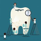Group Of Small Dentists Are Caring For A Large Tooth. Dental Personage Vector Illustration. Illustra poster
