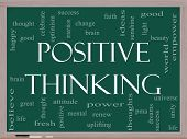 stock photo of pma  - Positive Thinking Word Cloud Concept on a Blackboard with great terms such as good mental thought life optimism and more - JPG