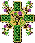 stock photo of scottish thistle  - Celtic cross wreathed with flowers of thistles - JPG