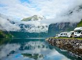 stock photo of motorhome  - RV camping by a fjord in Norway - JPG