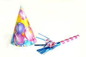 picture of birthday hat  - Birthday hat with balloune printing and noise maker isolated on a white background - JPG