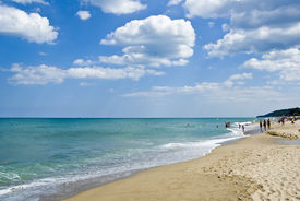picture of summer beach  - Summer beach scene at the Bulgarian town of Obzor - JPG
