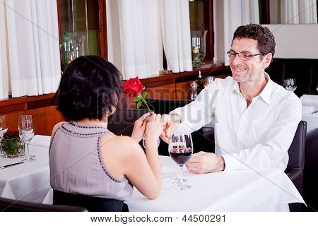 Happy Couple In Restaurant Romantic Date