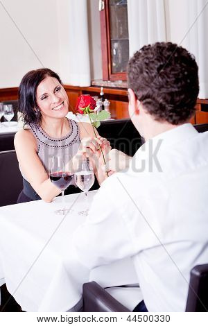 Happy Couple In Restaurant Romantic Date