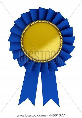 3D Illustration Of Blue Ribbon Over White Background