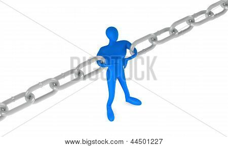 3D Man Holding A Chain Together