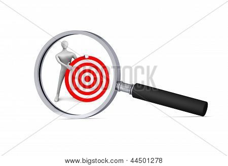 3D Man With Red Target  In The Magnifier/ 3D Icon
