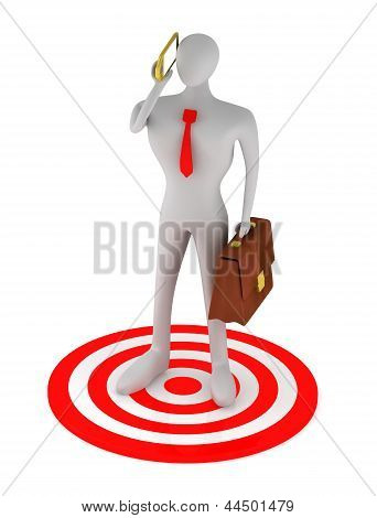 3D Businessman Talking On The Phone With Red Target