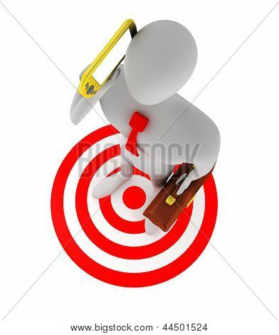 3D Businessman Talking On The Phone On The Red Target