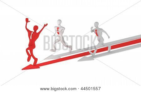 3D Man On The Red Arrow And His Defeated Competitors