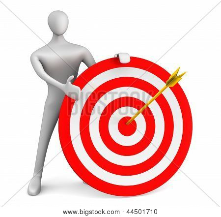 3D Man With Red Target And Golden Arrow