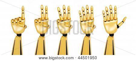 Golden 3D Robotic Hands Showing Numbers