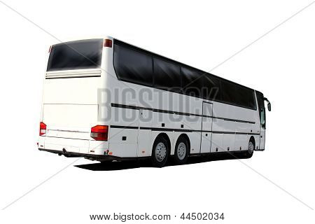 White Coach Bus Isolated Over White