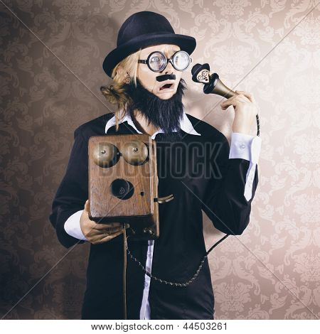 Vintage Businessman Listening To Conscience