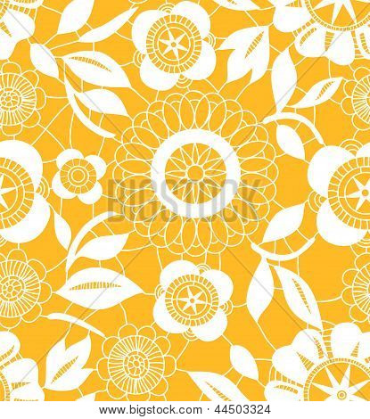 White crochet lacy flowers on orange seamless pattern, vector