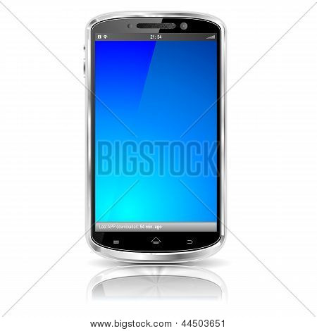 Cellphone with blank screen in blue
