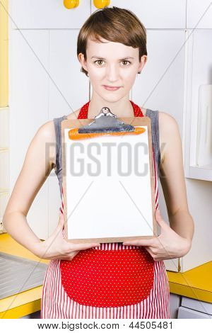 Woman With Blank Recipe Board