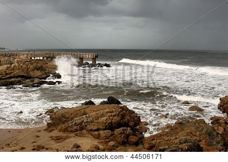 Stormy Weather At Concrete Jetty