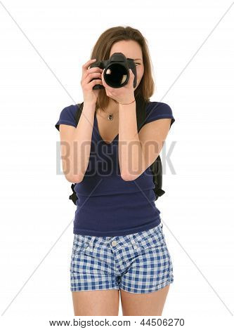 Female Tourist Who Takes Pictures Isolated On White Background