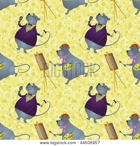 Seamless background, rats artist and singer