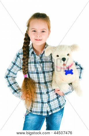 Happy Girl With A Toy Puppy An Armpit