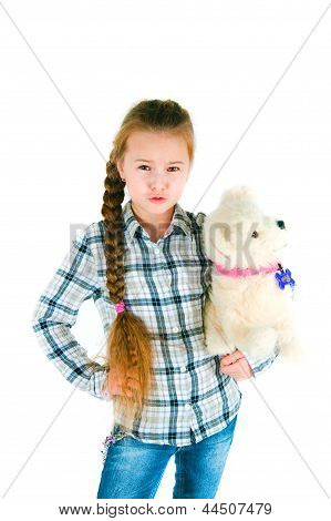 Dissatisfied Girl With A Toy Puppy An Armpit