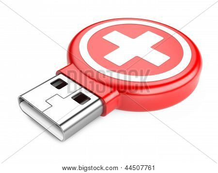 USB Flash Drive e sinal de Kit médico