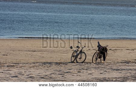 Two Bikes And Ball On Beach