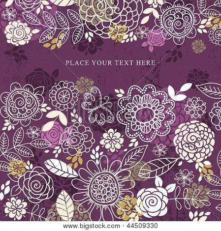 Purple Background Of Hand Draw  Flowers, Vector