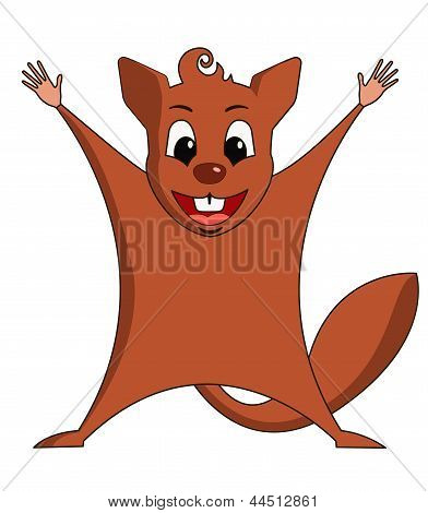 Fun zoo. Illustration of cute Flying squirrel