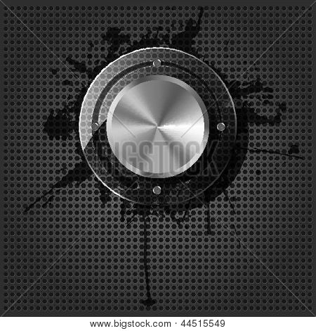 Chrome volume knob with splash on the metallic background