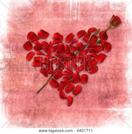 Grunge hintergrund mit Herzen gemacht Od rose petals