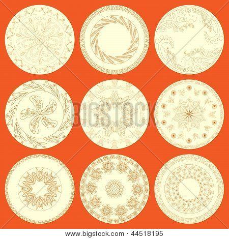 Nine Patterned Plates