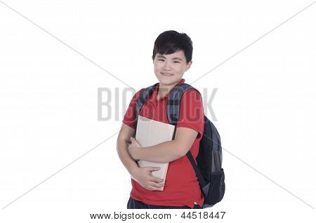Smiling teenager with a schoolbag standing with white background